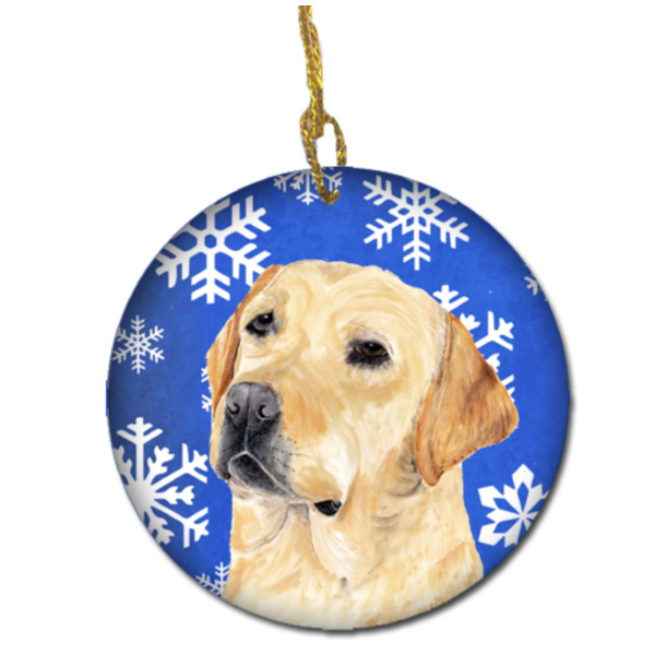 Labrador Winter Snowflakes Holiday Ceramic Ornament SC9376