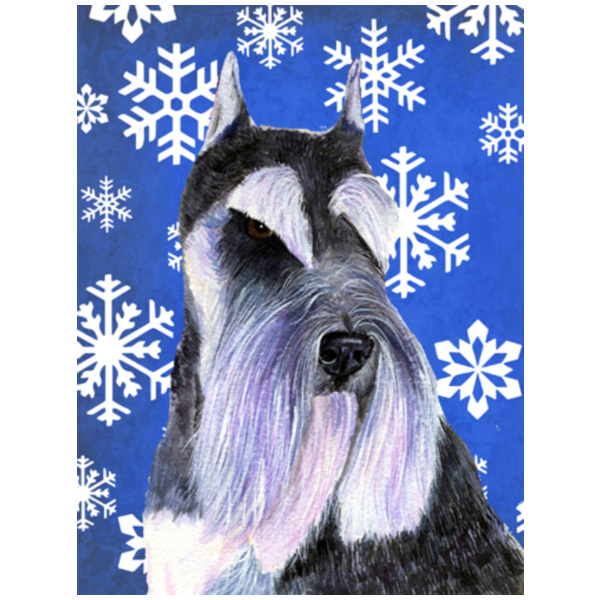 Schnauzer Winter Snowflakes Holiday Flag Garden Size