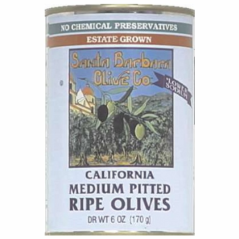 Santa Barbara Black Medium Pitted Olives 6 Oz (Pack of 12)