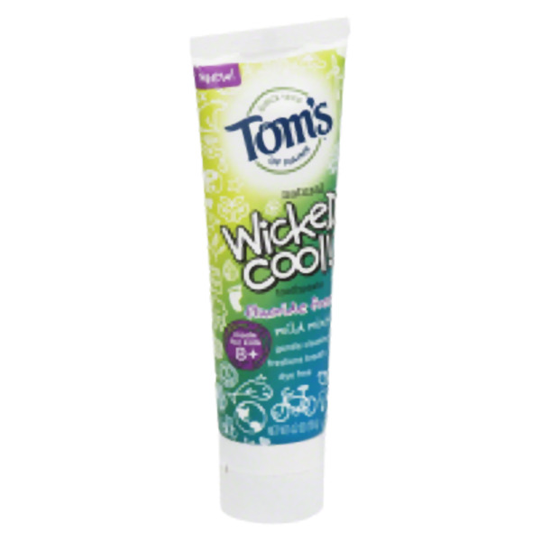 Tom`S Of Maine Wicked Cool Mild Mint Kid'S Toothpaste Flouride Free4.2 Oz (Pack of 6)
