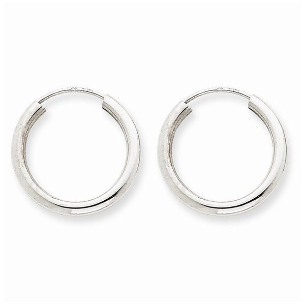 14k White Gold 2MM Polished Endless Hoop Earrings