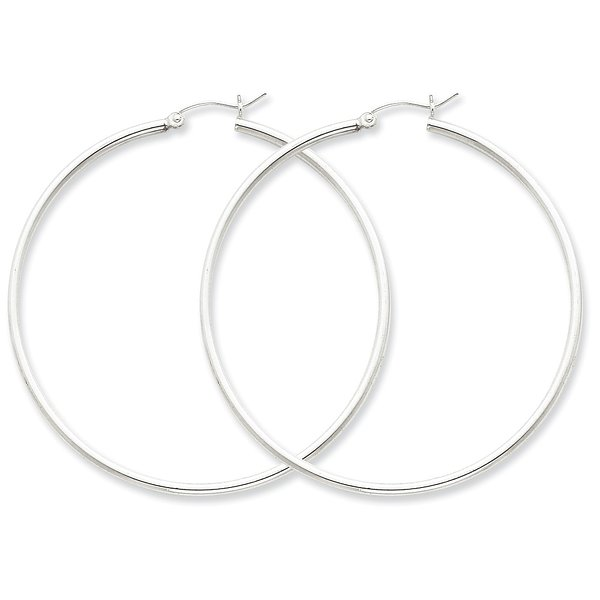 Sterling Silver 2MM Round Hoop Earrings