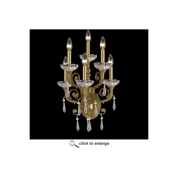 Regal Collection 5176-AG-CL-MWP Solid Brass Majestic Wood Polished Lead Crystal Wall Sconce