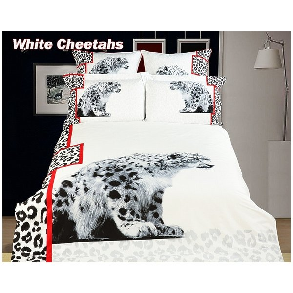 Dolce Mela - White Cheetahs Twin Size 4 Pieces Duvet Cover Set Animal Themed Luxury Bedding Set DM431T