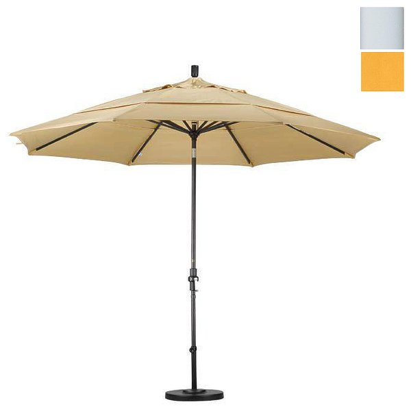 Product Image: California Umbrella GSCU118170-F25-DWV 11 ft. Aluminum Market Umbrella Collar Tilt Matted White-Olefin-Lemon-DWV