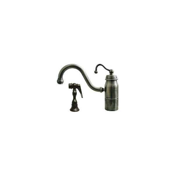 Whitehaus Collection 3-3165-SPR-C-ORB 9 in. Beluga single handle faucet with traditional curved swivel spout, curved handle and solid brass side spray- Oil Rubbed Bronze