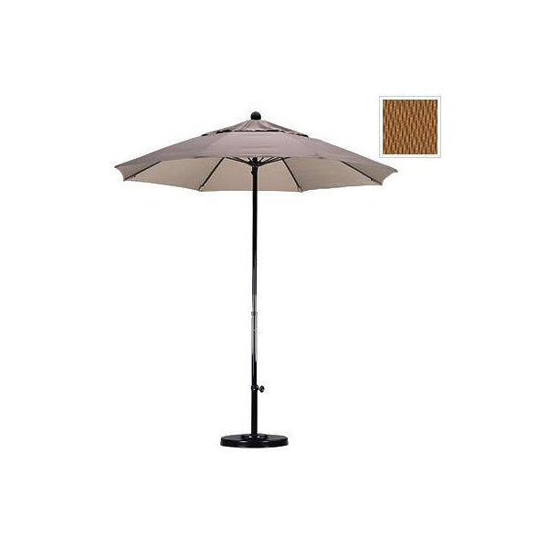 March Products EFFO758-5448 7.5 ft. Complete Fiberglass Pulley Open Market Umbrella - Black and Sunbrella-Cork