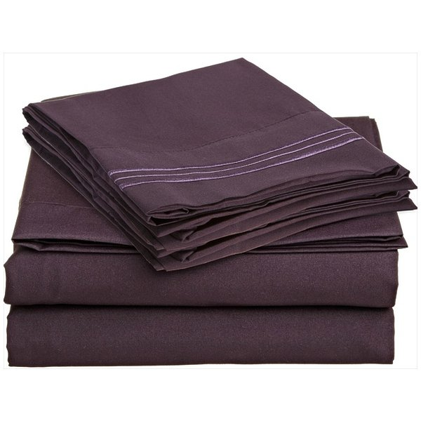 Clara Clark 1800 Series Bed Sheet Set Full Size, Eggplant