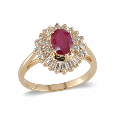 14K Gold Ruby and Diamond Ring Size 6