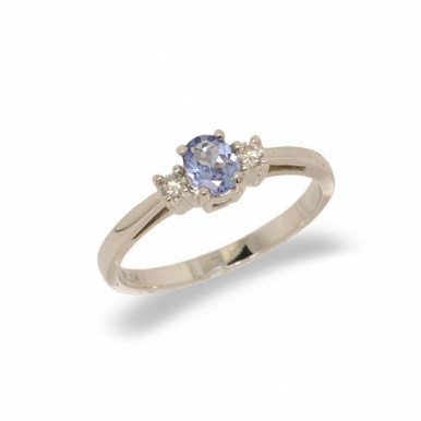 14K Gold Three Stone Diamond and Tanzanite Ring Size 7