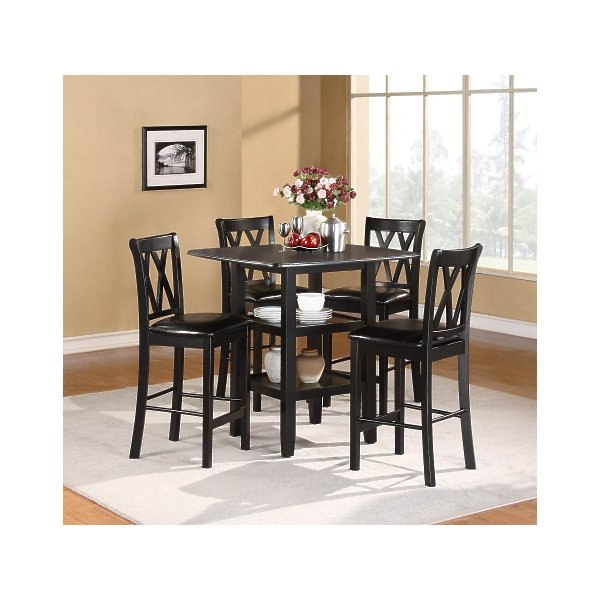 Home Elegance 2514BK-36 Norman 5Pc Dining Set - Table-4 Chairs - in Black