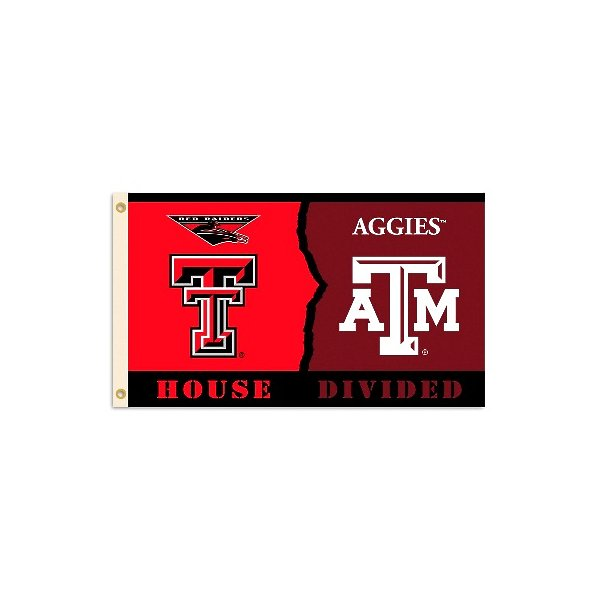 Bsi Products 95927 3 Ft. X 5 Ft. Flag With Grommets - Rivalry House Divided - Texas Tech - Texas A & M