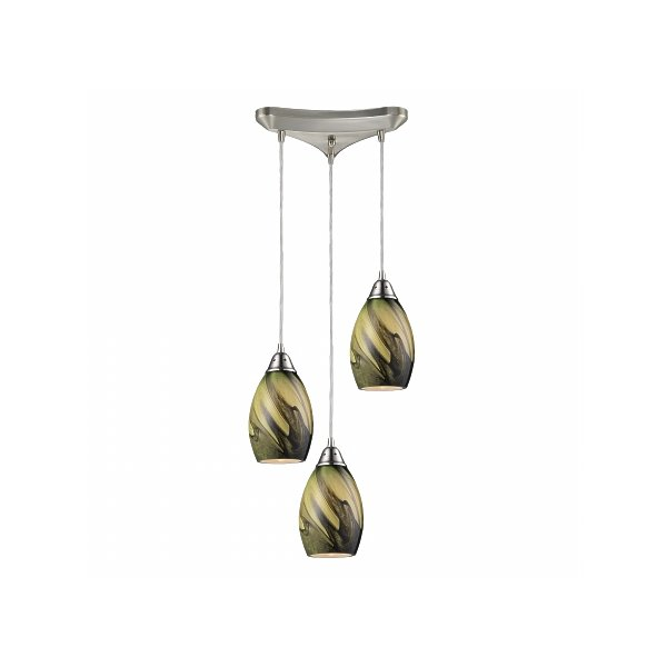 ELK Lighting 31133-3PLN Formations 3 Light Pendant in Satin Nickel and Planetary Glass