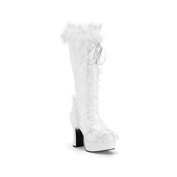 Funtasma Mammoth-311 White Pump With Faux Synthetic Fur Platform Boot 4 Inch Size 12