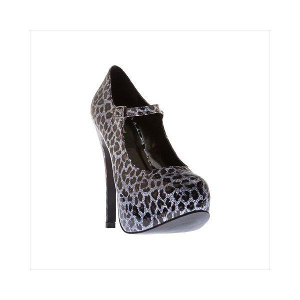 Highest Heel KISSABLE-71-PLEP-9 5.5 in. Covered Platform with Maryjane Strap in Pewter Leopard Glitter - Size 9