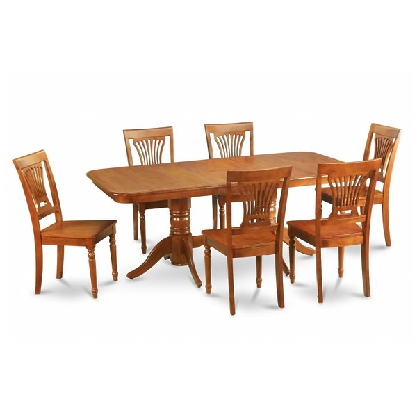 East West Furniture NAPL9-SBR-W 9pc Napoleon Double Pedestal Table and 8 Plainville Wood Chairs