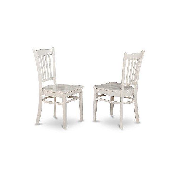 East West Furniture GRC-WHI-W Gronton Dining Chair with Wood Seat in Linen White Finish Pack of 2