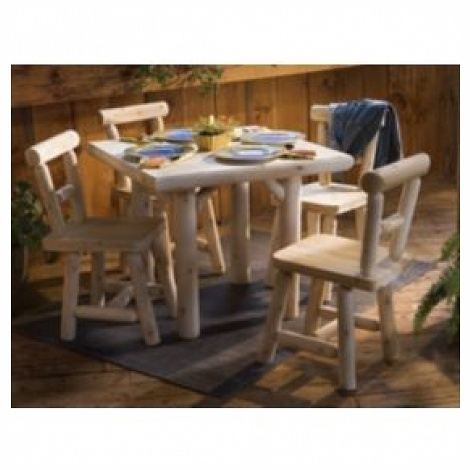Rustic Natural Cedar Furniture 0211230 Five Piece 35 in. Squareuare Solid Top Dining Set