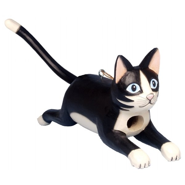 Songbird Essentials Leaping Black & White Cat Birdhouse