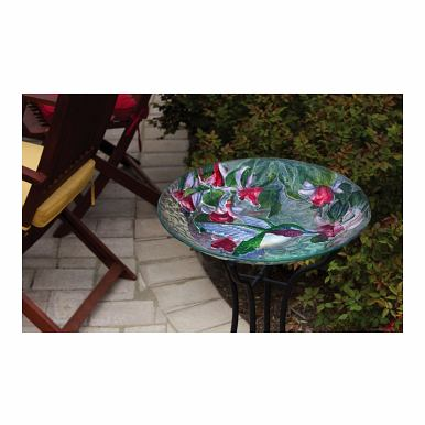 Evergreen Enterprises Hummingbird Beauty, Glass Birdbath