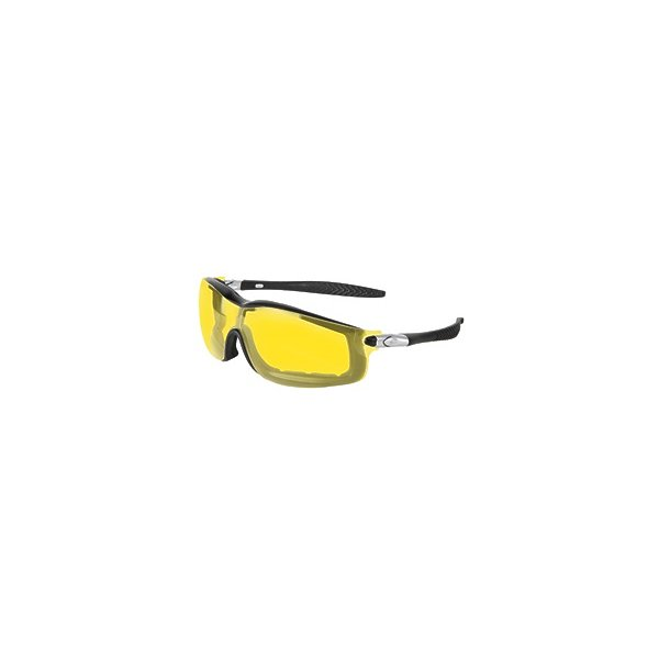 Product Image: Crews 135-RT114AF Rattler Safety Glasses Black Frame, mber Anti-Fog Lens