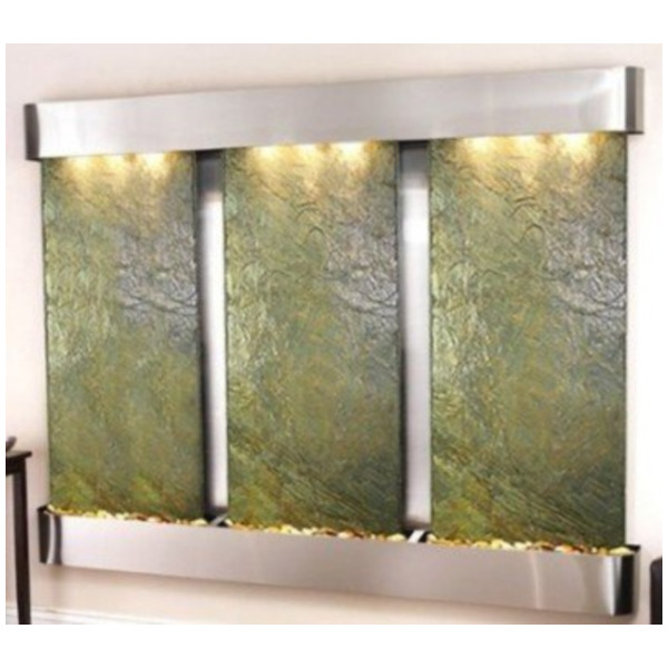 Product Image: Adagio Deep Creek Falls Fountain with Green Natural Slate in Stainless Steel Finis