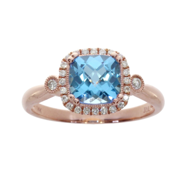 Product Image: 14k Rose Gold Cushion Cut Blue Topaz And Diamond Ring