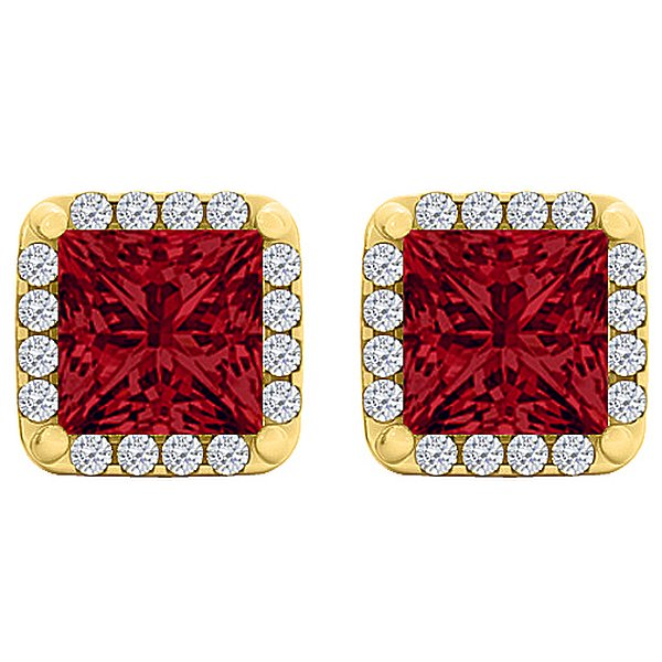 Product Image: Perfect CZ Ruby Squareuare Earrings Yellow-Gold Vermeil