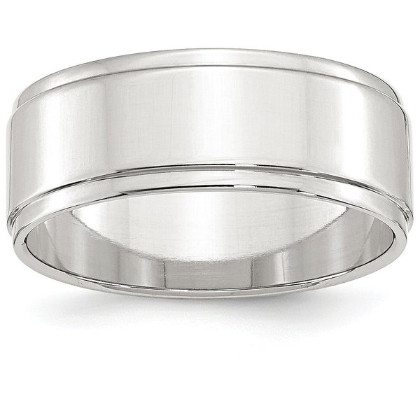 Product Image: Sterling Silver 8mm Engravable Flat with Step Edge Band
