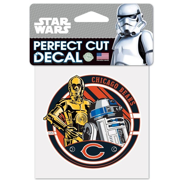 Product Image: Chicago Bears Official NFL 4 inch x 4 inch Star Wars R2-D2 and C-3PO Die Cut Car Decal by Wincraft 402622