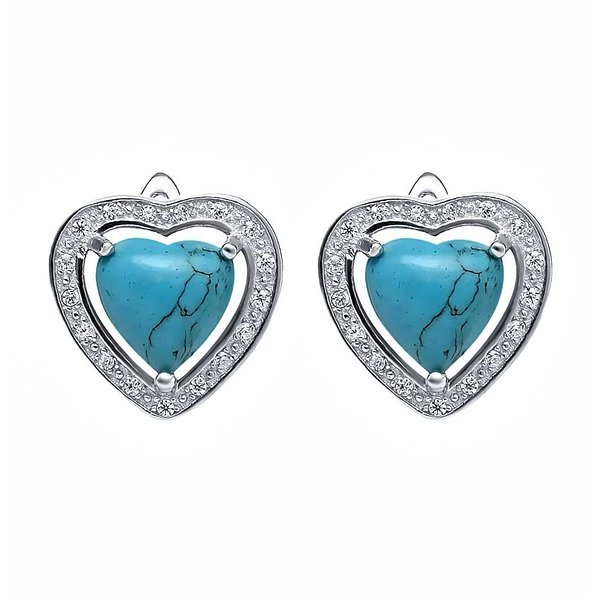 Product Image: Beautiful Sterling Silver 4mm Simulated Turquoise Heart Shaped Stud Earrings