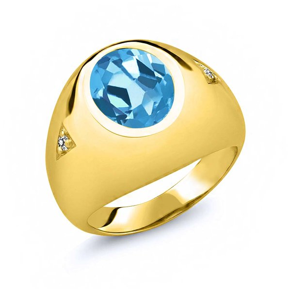 Product Image: 5.07 Ct Oval Swiss Blue Topaz White Diamond 14K Yellow Gold Men's Ring