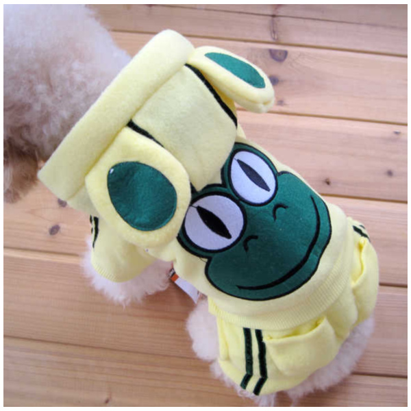 Cute Dog Clothing Pet Fashion YELLOW Color Polyester Material Frog Design-Size 1