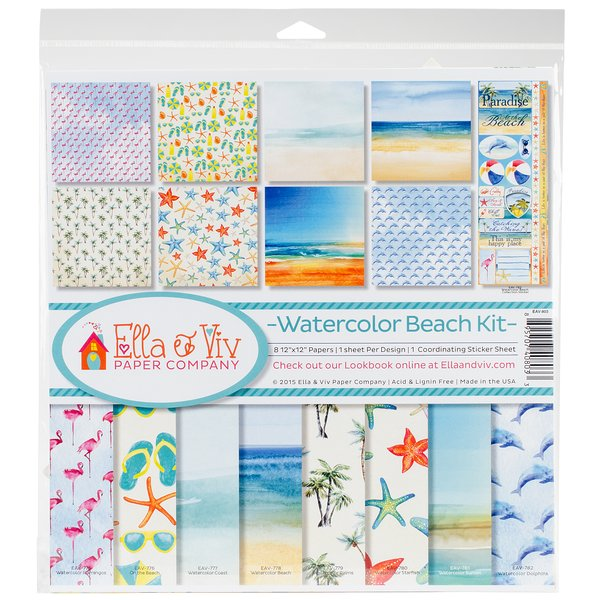 "Product Image: Ella & Viv Collection Kit 12""X12""-Watercolor Beach"