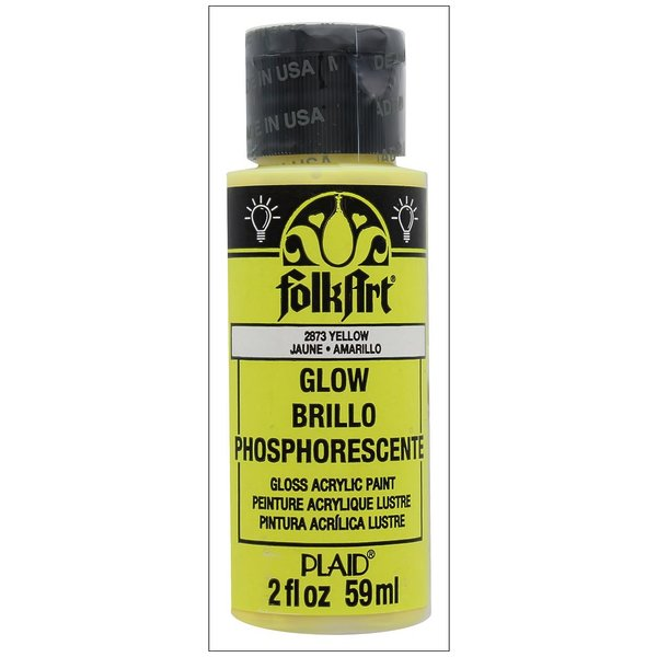 Product Image: Plaid Folkart Acrylic Paint 2oz Glow in Dark Yellw