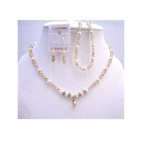 Golden Shadow Crystals Bridal Jewelry Set with Ivory Pearls