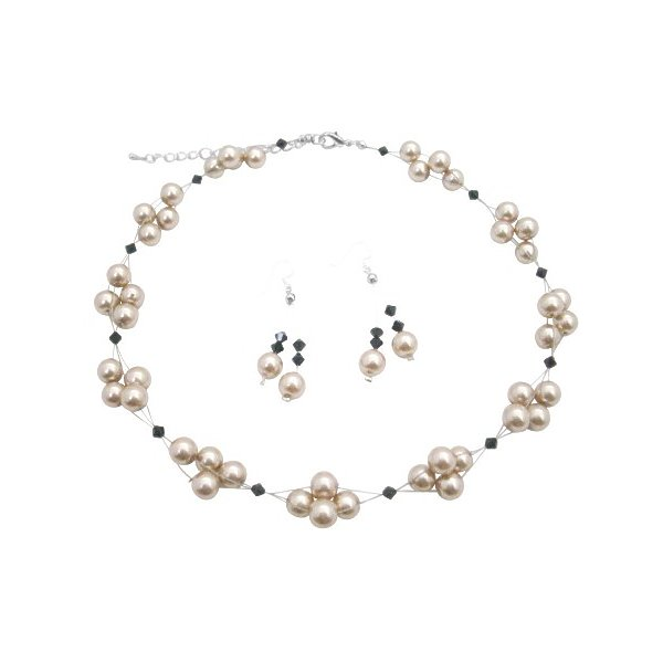 Inexpensive Wedding Prom Jewelry Champagne Pearls Jet Crystal Necklace