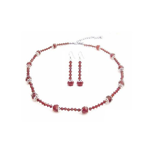 Red Crystals with Bali Cap Beads Necklace Set 8mm Round Beads
