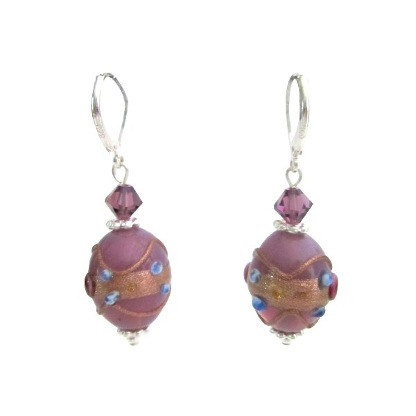 Chic Girls Purple Lampwork Beads & Crystals Fancy Earrings