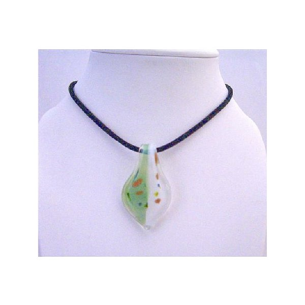Murano Leaf Glass Pendant Hand Painted Glass Pendant with Chord Necklace