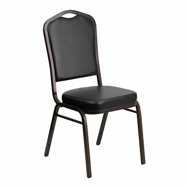 HERCULES Series Crown Back Stacking Banquet Chair with Black Vinyl and 2.5'' Thick Seat - Gold Vein Frame FD-C01-GOLDVEIN-BK-VY-GG