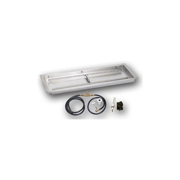 Stainless Steel 24 Inch x 8 Drop-In Fire Pit Pan Propane -Ignition Kit