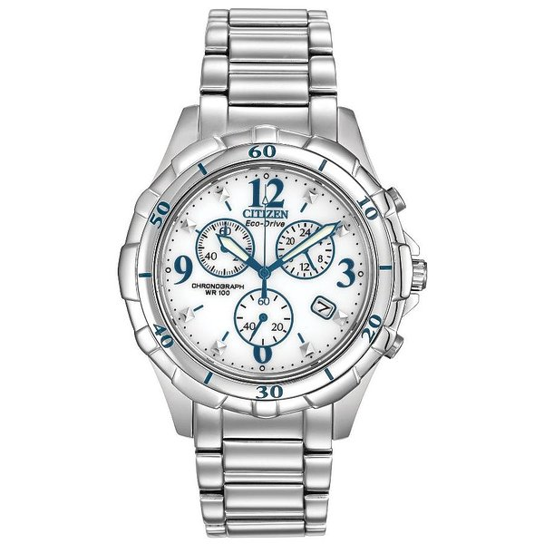 Product Image: Citizen Eco-Drive Stainless Steel Chronograph Ladies Watch FB1350-58A