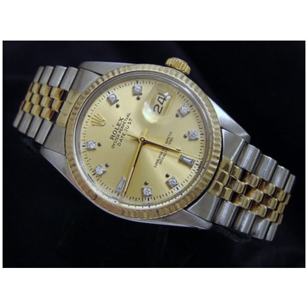 Product Image: Pre Owned Mens Rolex Two-Tone Datejust with a Gold Diamond Dial 16013