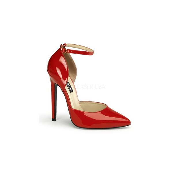 "SEXY-21, 5"" Stiletto Heel Ankle Strap D' Orsay Pump Shoes Red Pat Size 9"