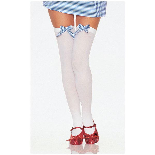 Thigh High White And Blue Bow Adult White and Blue One Size