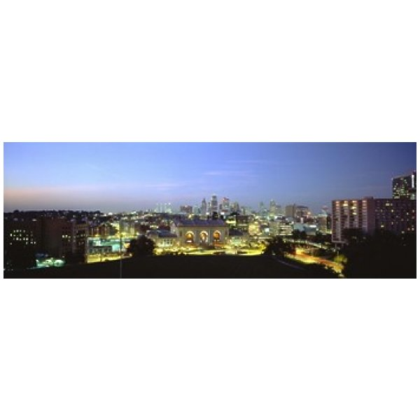 Product Image: High Angle View Of A City Lit Up At Dusk Kansas City Missouri USA Poster Print (18 x 6)
