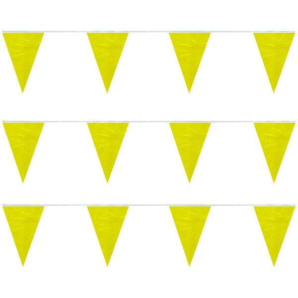 Yellow Heavy Duty String Pennants (30 ft) 8-Mil Polyethylene