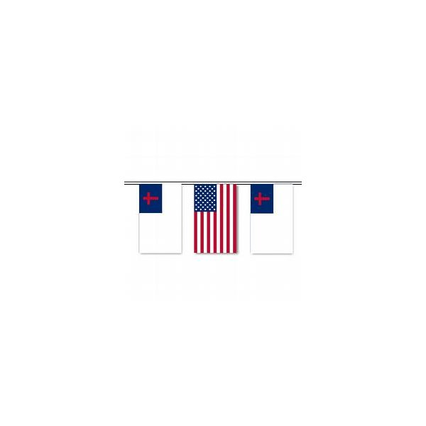 US and Christian Flag String Pennants 9 in x 12 in/30 ft Polyethylene