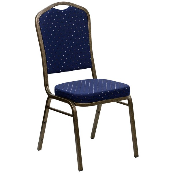 Product Image: HERCULES Series Crown Back Stacking Banquet Chair with Navy Blue Patterned Fabric and 2.5'' Thick Seat - Gold Vein Frame